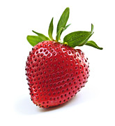 Closeup Art - Strawberry on white background by Elena Elisseeva
