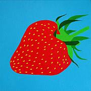 Trendy Painting Posters - Strawberry Pop Poster by Oliver Johnston