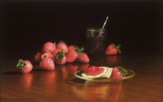 Dark Wood Table  Prints - Strawberry Preserves Print by Barbara Groff