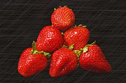 Fresh Food Mixed Media Prints - Strawberry Pyramid On Black Print by Andee Photography
