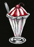 Ice-cream Paintings - Strawberry Sundae by Elaine Hodges