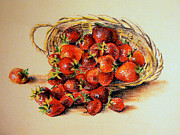 Basket Pastels Posters - Strawberry Poster by  Svetlana Nassyrov