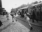 Cobblestone Prints - Streakers In Munich, Germany, 1974 Print by Everett