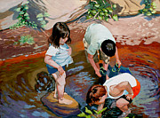 Figures Painting Originals - Stream Bathers by Edwin Abreu