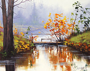 Autumn Landscape Painting Framed Prints - Stream Crossing Framed Print by Graham Gercken