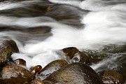 Stones Art - Stream flowing over rocks by Les Cunliffe