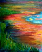 Julia Lueders Paintings - Stream of Color by Julie Lueders