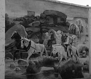 Cowboy Hat Mixed Media - Street Art - Building Mural - Black and White by Photography Moments - Sandi