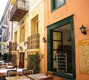 Neo-classical Framed Prints - Street Cafe Greek Restaurant in Nafplion Greece Framed Print by John A Shiron