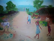 Haitian Paintings - Street Dawn Activities by Nicole Jean-Louis