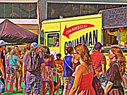 Hot Dog Stand Paintings - Street Food Vendor Grumman 78 - Montreals Famous Taco Truck CAROLE SPANDAU MONTREAL CITY SCENES   by Carole Spandau