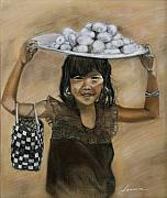 Business Pastels Prints - Street Girl Merchant Print by Leonor Thornton