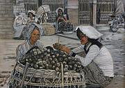 Border Pastels - Street Girls Merchants by Leonor Thornton
