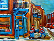 Hockey Painting Framed Prints - Street Hockey At Wilenskys Montreal Framed Print by Carole Spandau