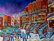 Hockey Paintings - Street Hockey Game In Winter by Carole Spandau