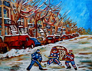 Hockey In Montreal Paintings - Street Hockey Hotel De Ville by Carole Spandau