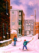 Montreal Urban Landscapes Prints - Street Hockey In Laneway Montreal City Scenes Print by Carole Spandau
