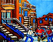 Hockey Rinks Paintings - Street Hockey Near Staircases Montreal Winter Scene by Carole Spandau