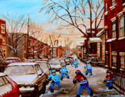 Kids Playing Hockey Paintings - Street Hockey On Jeanne Mance by Carole Spandau