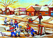 Hockey Paintings - Street Hockey Thornhill Toronto Ontario by Carole Spandau