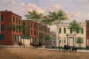 Townhouses Framed Prints - Street in Brooklyn Framed Print by American School