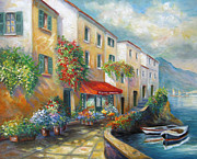 Italian Greeting Card Posters - Street in Italy bt the Sea Poster by Gina Femrite