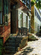 Stoops Prints - Street in New Castle Delaware Print by Susan Savad