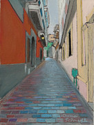 Puerto Rico Pastels Framed Prints - Street in Old San Juan of Puerto Rico Framed Print by Dana Schmidt