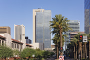 Phoenix Architecture Framed Prints - Street in Phoenix with Chase Building in Background Framed Print by Jeremy Woodhouse