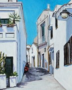 Scooter Paintings - Street In Pisticci With Scooter by Anne Parker