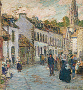 Town Square Framed Prints - Street in Pont Aven Framed Print by Childe Hassam