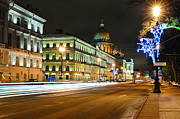 Snowy Night Art - Street in Saint Petersburg by Roman Rodionov
