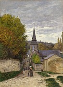 Impressionism Landscape Framed Prints - Street in Sainte Adresse Framed Print by Claude Monet