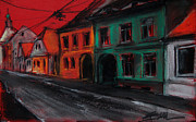 Church Pastels Posters - Street In Transylvania 1 Poster by EMONA Art