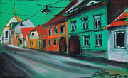White House Pastels Framed Prints - Street In Transylvania 2 Framed Print by EMONA Art