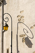 Old Town Pyrography Framed Prints - Street Lamp And Shadow Framed Print by Igor Kislev