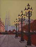 Lamps Paintings - Street Lamps by Jennifer Lynch