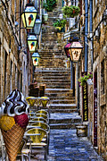 Stone Steps Framed Prints - Street lane in Dubrovnik Croatia Framed Print by David Smith