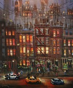 Chicago At Night Paintings - Street Life by Tom Shropshire