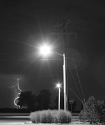 Lightning Bolt Pictures Prints - Street Light  Lightning in Black and White Print by James Bo Insogna