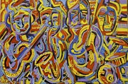 Soul Musicians Paintings - Street Music by Isaac Rudansky