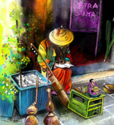 Art Miki Digital Art Metal Prints - Street Musician in Pietrasanta in Italy Metal Print by Miki De Goodaboom