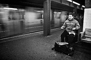 Black Top Acrylic Prints - Street Musician in Subway Station in New York City Acrylic Print by Ilker Goksen