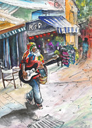 Capital Drawings - Street Musician in Turkish Nicosia by Miki De Goodaboom