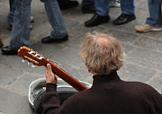Guitar Player Posters - Street Musician Italy Poster by Bob Christopher