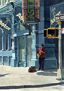 Musicians Painting Originals - Street Musician by Tom Hedderich
