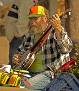 Playing Digital Art Originals - Street Musician with Banjo in San Francisco by Mark Hendrickson