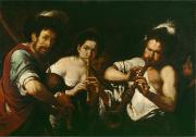 Instruments Paintings - Street Musicians by Bernardo Strozzi