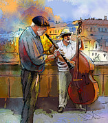 Bass Bridge Prints - Street Musicians in Prague in the Czech Republic 01 Print by Miki De Goodaboom