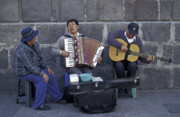 Buskers Photos - STREET MUSICIANS Quito Ecuador by John  Mitchell